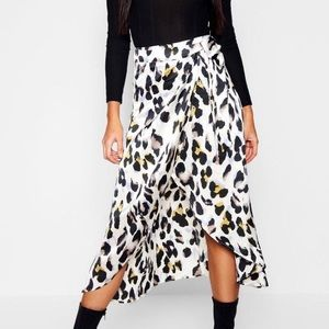 Boo Hoo small satin leopard wrap skirt
